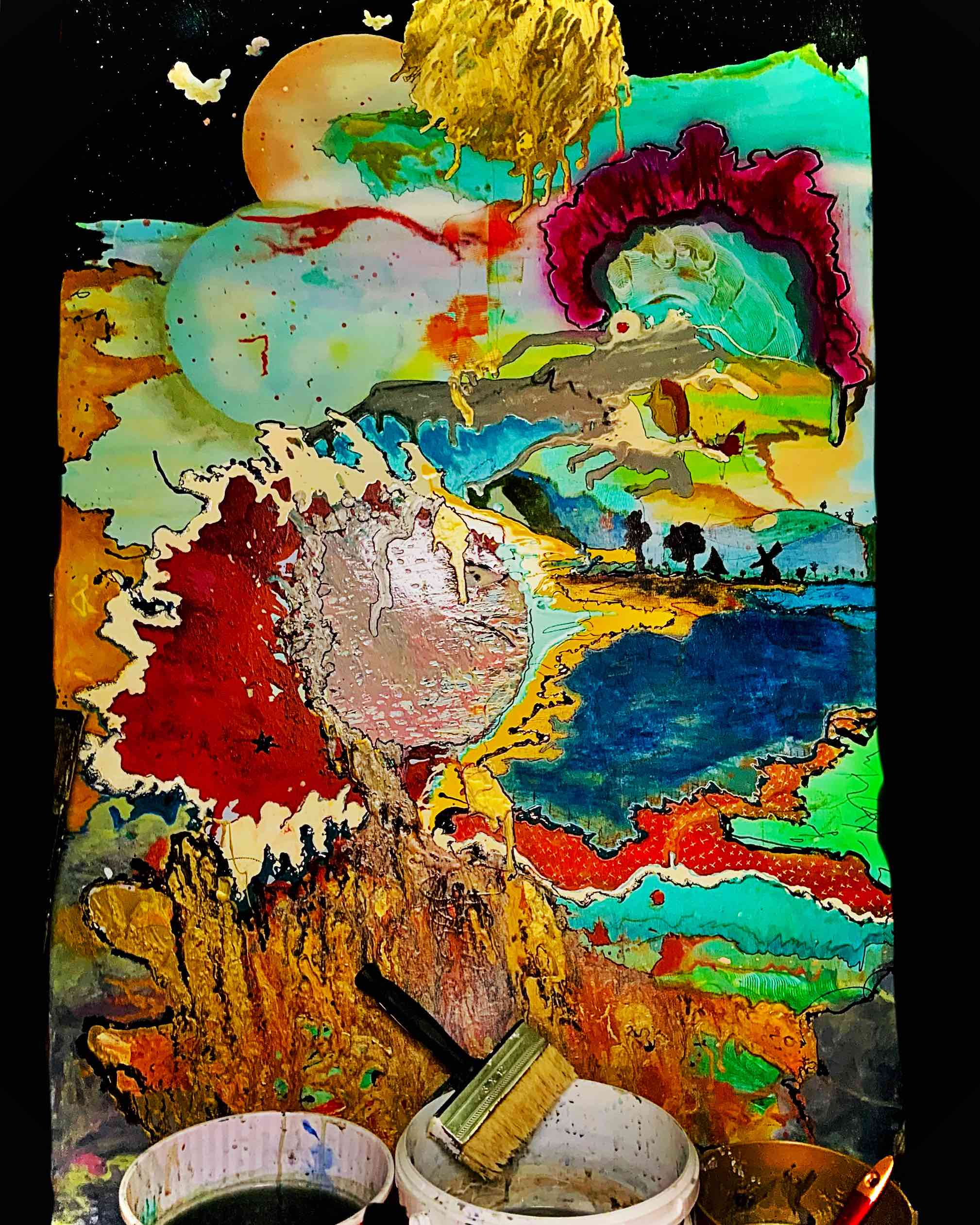 abstract, acryl, painting, colorful,