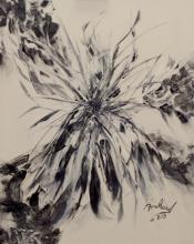 Schilderij - wit - zwart - acryl