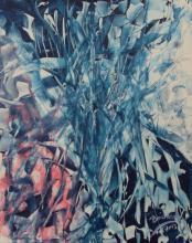 schilderij - kunst - wit- blauw - rood - acryl