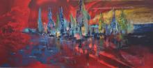 schilderij - rood - blauw